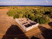 Hospitalet Vell ,edificio rectangular de arquitectura ciclópea , núcleo de hábitat talayótico , término municipal de Manacor, Majorca, Balearic Island...
