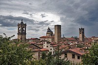 Red roofs, towers of High City, Città Alta on a rainy day, Bergamo, Italy, Europe.