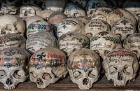 Skulls in ossuary, Karner St. Michael's Chapel, Lake Hallstatt, Salzkammergut, a UNESCO World Heritage Hallstatt-Dachstein Salzkammergut, Upper Austri...