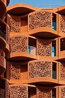 Architectural terracota facades of the Masdar Institute of Science and Technology, Masdar City, Abu Dhabi, United Arab Emirates.
