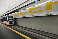 Luceros Tram Station and tram, platform 2, Luceros, Alicante, Comunidad Valenciana, Spain.