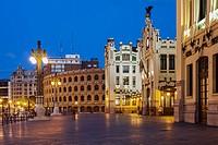 The front facade of the Estacio del Nord railway Station and Plaza de Toros de Valencia in Valencia at twilight, Xativa - Marques de Sotelo, Valencia,...