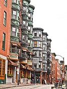 North End. Boston, Massachusetts. The North End is a largely Italian neighborhood in Boston with Victorian and Brownstone architecture.