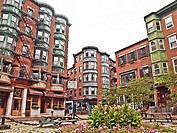 North Square, North End. Boston, Massachusetts. The North End is a largely Italian neighborhood in Boston with Victorian and Brownstone architecture.