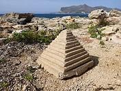 Small pyramid in the landscape of Favignana, Sicily, Italy, Europe.
