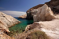 Small rocky beach in Firopotamos or Fyropotamos village, Milos, Cyclades Islands, Greek Islands, Greece, Europe