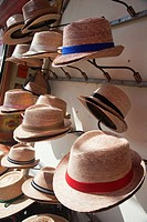 Hats for sale in front of a shop in Tulum town, Quintana Roo, Yucatan Province, Mexico, Central America