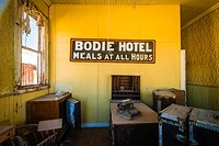 The Bodie Hotel office, Bodie State Historic Park, California USA.