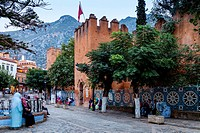 The Kasbah and Plaza Uta el-Hammam, Chefchaouen, Morocco.