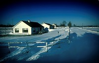 Blocked lanes from the blizzard of 1982, in which a strong easterly wind left the fields mostly clear, and dropped snow up to a height of 2 metres on ...