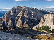 Mount Conturines and the Fanes mountains high above Alta Badia in the Dolomites. The Dolomites are listed as UNESCO World heritage. europe, central eu...