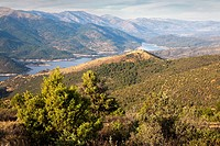 Sierra de Gredos and Burguillo reservoir from Merina hill in Cebreros. Avila. Castilla Leon. Spain. Europe.
