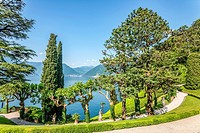 Garden of Villa Balbianello in Lenno at Lake Como, Lombardy, Italy.