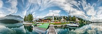 300 degree view of the waterfront of Lake St. Moritz, Switzerland.