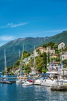 Lakefront and Marina of Ascona, Ticino, Switzerland.