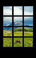 Hotel window. Switzerland