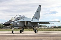 Israeli Air Force Alenia Aermacchi M-346 Master (IAF Lavi) a military twin-engine transonic trainer aircraft. Photographed in Italy.