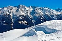 Winter landscape in the Valasian Alps, vie at the peak Bättlihorn, Riederalp, Valais, Switzerland.