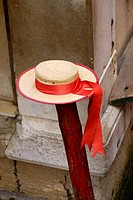 Venice Italy). Typical gondolier hat in the city of Venice.