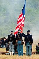 Union soldiers during battle re-enactment, Civil War Reenactment, Willamette Mission State Park, Oregon.