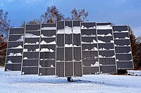 Solarpark Mengeringhausen with static Modules and Modules, that follow the Azimuth of the Sun. They produce electricity in any position and angle. Bad...