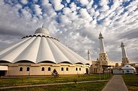 Sheikh Khalifa Bin Zayed Al Nahyan Mosque exterior in Shymkent Kazakhstan.