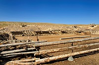 Cattle pen with earthen roof stable at Black Canyon Charyn river Kazakhstan.