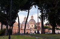Roman sketch with two Baroque churches Trajan´s Column: Santa Maria di Loreto and Santissimo Nome di Maria, Rome, Italy, Europe.