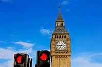 Big Ben Clock Tower closeup in London England.