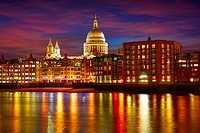 London St Paul Pauls cathedral from Millennium bridge on Thames UK.
