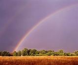 Poland. Suwalski region. Rainbow after storm