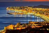 Fuengirola at dusk. Malaga Province, Costa del Sol, Andalusia, Spain.