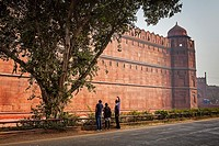Rampart of Red Fort, Delhi, India.