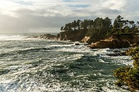 USA, Oregon, Westport. Pounding waves on the shoreline of the Pacific coast.