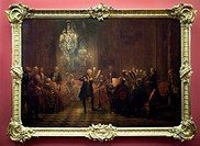 The Flute Concert of Frederick the Great at Sanssouci by Adolph Menzel, at the old national gallery in Berlin.