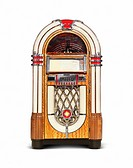 Wurlitzer Jukebox compact disk version of classic retro music playing device isolated on white background with clipping path.