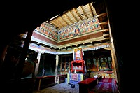 India, Jammu and Kashmir State, Himalaya, Ladakh, Indus valley, interior of the Buddhist monastery of Lamayuru (Yungdrung)