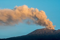 View of the Turrialba volcano from the town of Aquires, Costa Rica.