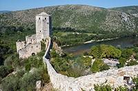 medieval citadel built by King Tvrtko I of Bosnia in 1383 in Pocitelj village over Neretva river, Bosnia and Herzegovina.