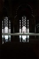 Hassan II mosque interior, Casablanca, Morocco.