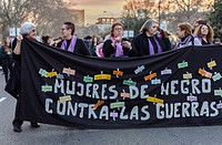 Madrid, Spain. 8th March, 2017. Women protest vindication of their rights in the international women's day, Cibeles square, Madrid, Spain, on 8th Marc...