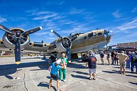 B-17 Flying Fortress bomber at Wings of FreedomTour of historic vintage WWII war planes at Venice Airport in Venice Florida.
