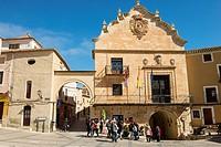 "View of the Town Hall during ""Los Miercoles de Chinchilla"", old tradition in Chinchilla de Montearagón, Albacete Province, Spain"