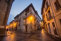 Dusk in Rubielos de Mora village, one of the most beautiful villages in Spain on Dec 17, 2016.