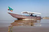 An Ethiopian Family Take A Boat Trip Out Onto The Lake, Lake Ziway, Ethiopia.