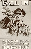 World War One recruitment poster with the words Fall In Answer Now In Your Country's Hour of Need. From The Story of 25 Eventful Years in Pictures pub...