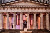 Federal Hall National Memorial NYSE - Front view to the main entrance to Federal Hall at Wall Street in lower Manhattan, New York City.