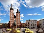 Poland Krakow St Marys Church at Main Market Square.