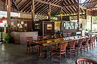 A traditionally furnished and decorated lodge or hotel dining area at the Borneo Highland Resorts, in Sarawak, Malaysia