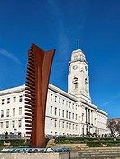 Crossing Vertical 2006 Sculpture by Nigel Hall at the Town Hall in Barnsley South Yorkshire England.